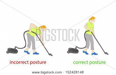 correct posture during cleaning. vector illustration .