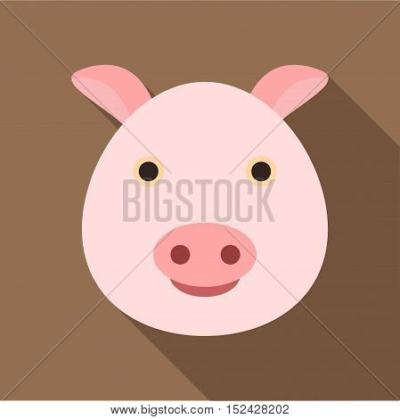 Pig icon. Flat illustration of pig vector icon for web