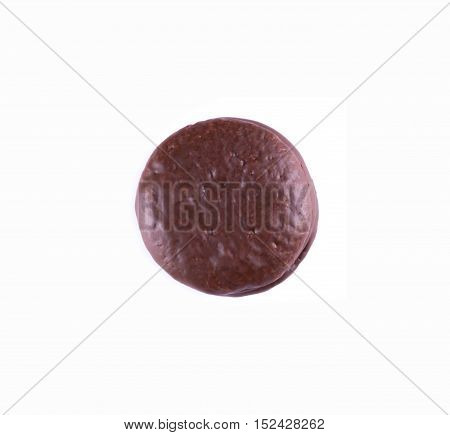 choco pie chocolate coated snacks isolated on white.  chocolate chip cookies top view