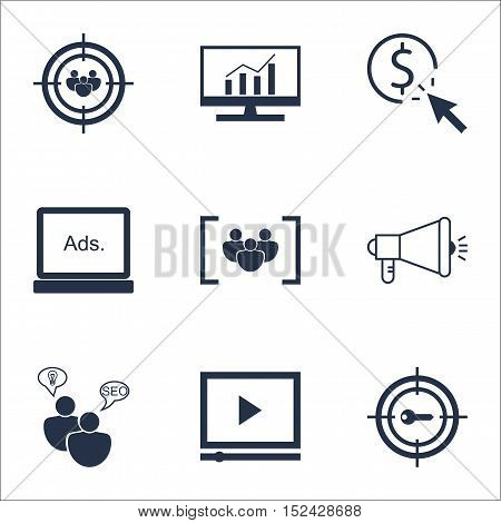 Set Of Advertising Icons On Video Player, Digital Media And Ppc Topics. Editable Vector Illustration