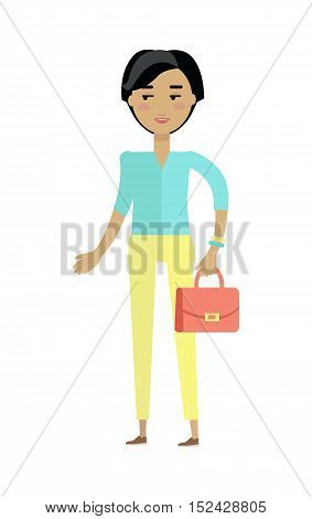 Beautiful young woman with cheerful attitude. Woman in blue shirt and yellow pants with red lady s bag. Smiling young woman personage in flat design isolated on white background. Vector illustration