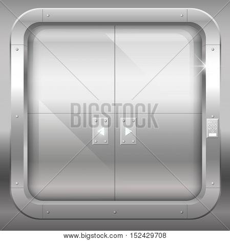 Fantastic steel double doors closed portal or laboratory bank. Vector graphics