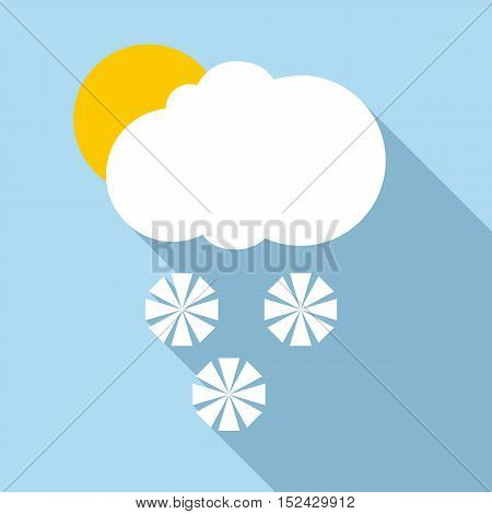 Snow in sunny weather icon. Flat illustration of snow in sunny weather vector icon for web
