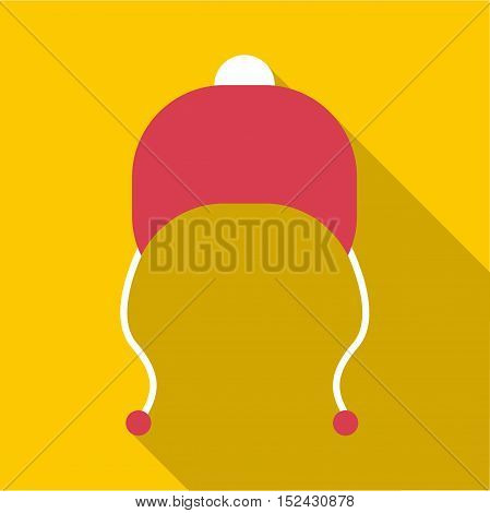 Red hat with pompom icon. Flat illustration of red hat with pompom vector icon for web