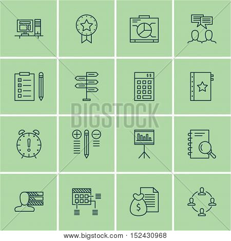 Set Of Project Management Icons On Time Management, Presentation And Computer Topics. Editable Vecto