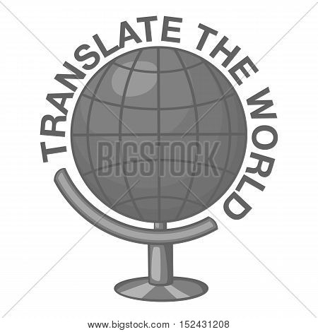 Translate world icon. Gray monochrome illustration of translate world vector icon for web