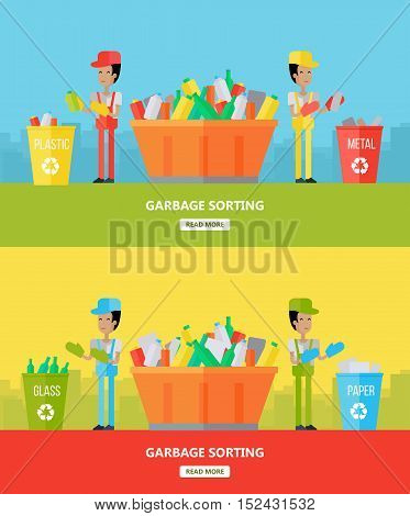 Garbage sorting. Two men sorting garbage. Waste recycling concept. Sorting process different types of waste. Garbage destroying. Website design template. Vector illustration in flat style design.