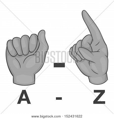 Language of gestures icon. Gray monochrome illustration of language of gestures vector icon for web