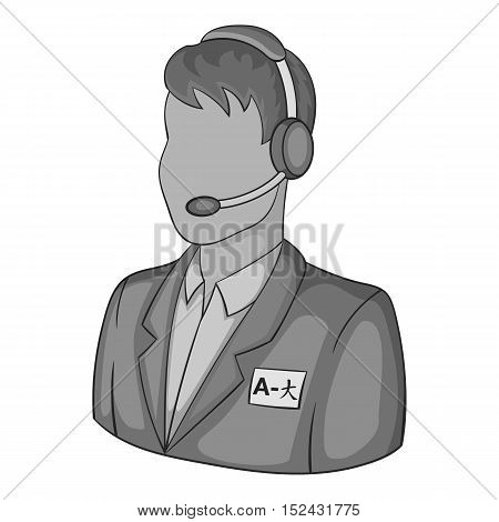 Male translator on phone icon. Gray monochrome illustration of male translator on phone vector icon for web