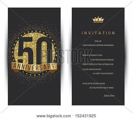 50th anniversary decorated invitation card template. Vector illustration.