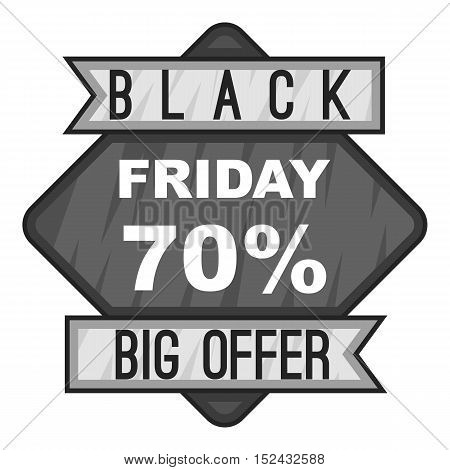 Label black friday seventy percent big offer icon. Gray monochrome illustration of label black friday seventy percent big offer vector icon for web