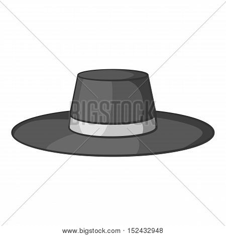 Gentleman hat icon. Gray monochrome illustration of gentleman hat vector icon for web