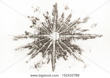 Star shape drawing illustration concept made of grey ash dust sand