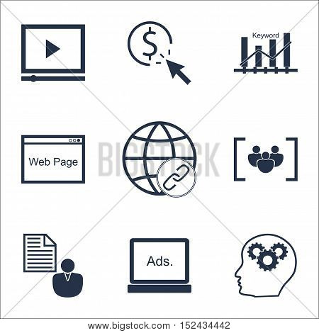 Set Of Seo Icons On Brain Process, Report And Digital Media Topics. Editable Vector Illustration. In