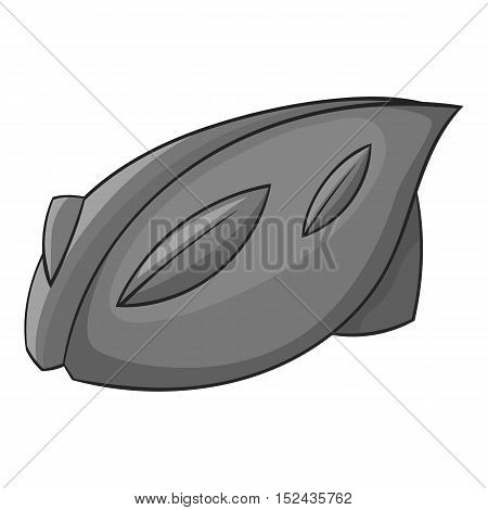Bicycle protective helmet icon. Gray monochrome illustration of bicycle protective helmet vector icon for web