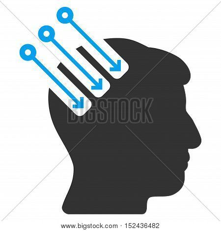 Neuro Interface vector icon. Style is flat graphic bicolor symbol, blue and gray colors, white background.