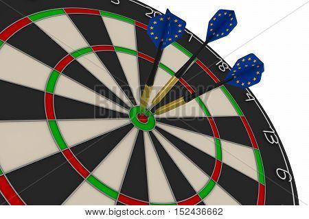 Dart Board With Three Eu Flag Darts In Bullseye 3D Illustration