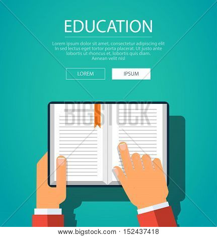 Vector modern flat style concept illustration of manual reading recommendation. Poster template of reading user manual. Hands holding book