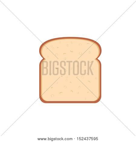 flat design single bread slice icon vector illustration