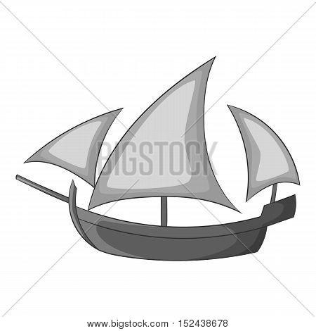 Three sailing wooden ship icon. Gray monochrome illustration of three sailing wooden ship vector icon for web