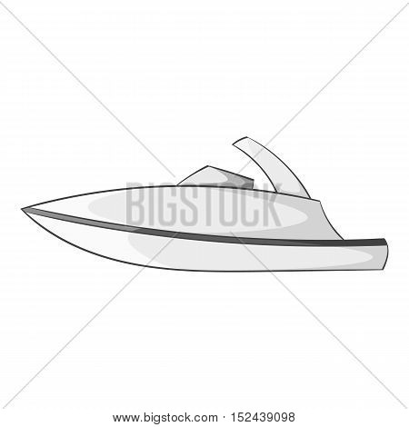 Little powerboat icon. Gray monochrome illustration of little powerboat vector icon for web