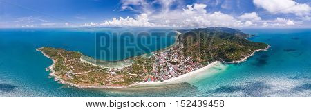 panoramic view of the island of Koh Phangan from the bird's-eye view