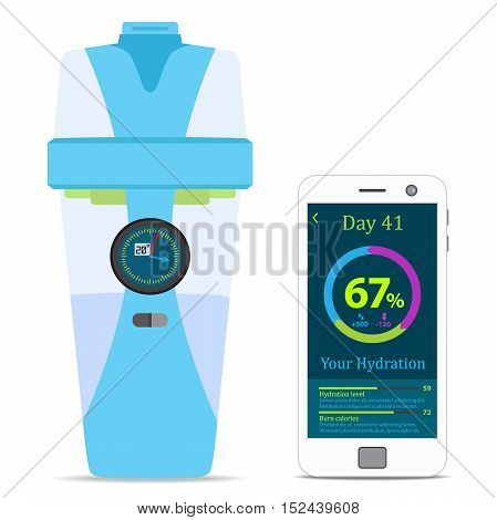 Smart hydrate bottle with filter smartphone wireless device. Flat style.