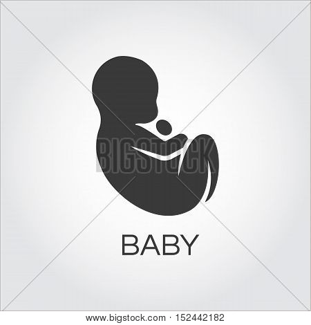 Baby icon drawn in flat style. Simple mono black silhouette of newborn concept. Logo for websites, mobile apps and other design needs. Vector contour graphics