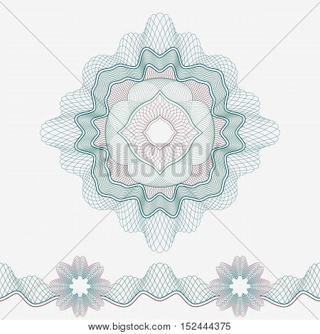 Set: Guilloche Pattern Rosette and border for certificate or diploma, isolated, green and red. Vector illustration.