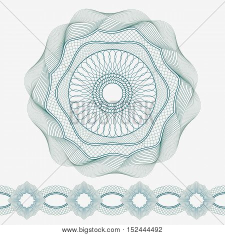 Set: Guilloche Pattern Rosette and border for certificate or diploma, isolated. Vector illustration.