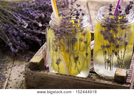 Lavender Lemonade, Natural Refreshing Drink On Wooden Background