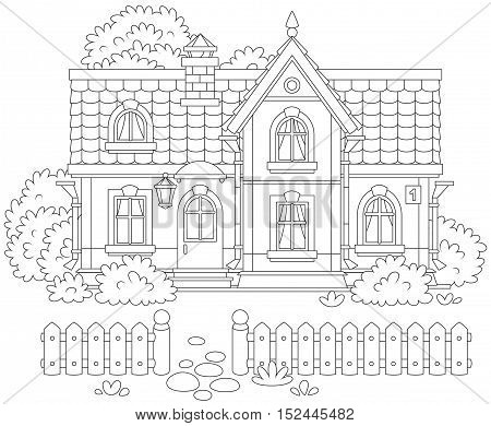 Black and white vector illustration of a country house and a courtyard with a fence, trees and bushes