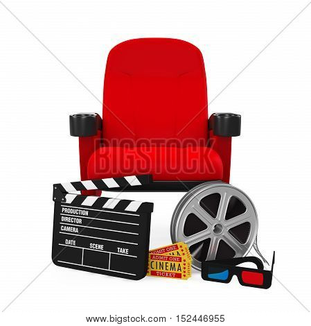 Movies Cinema Concept isolated on white background. 3D render