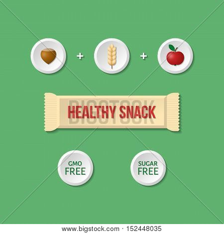 Organic energy bar. Healthy snack infographic. Detailed flat style eps10.