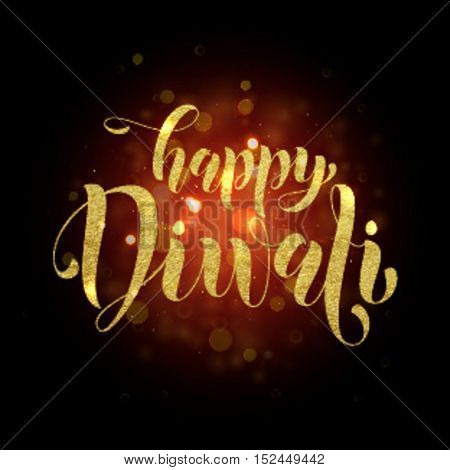 Happy Diwali gold glittering text. Diwali or Deepavali festival banner on black background.  Hindu Diwali indian festival of lights