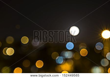 Lights of the city at night in out of focus