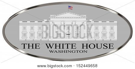 Depiction of the White House home to the United States President over a white background