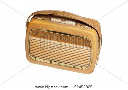 Stockholm, Sweden - December 21, 2015: Portable broadcasts receiver transistor radio INGELEN TRV 1001 UKW produced by Ingelen Elektrotechnische Fabrik Ing. Ludwig Neumann GmbH; Wien during the 1960s.