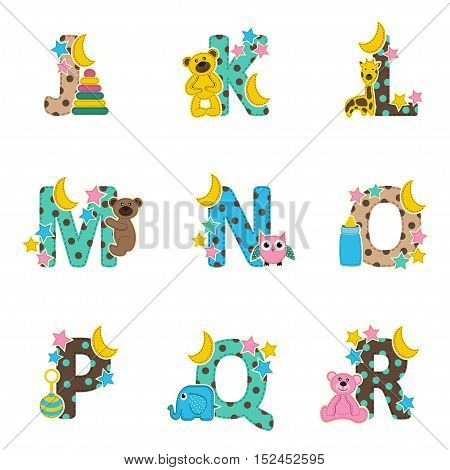 alphabet baby from J to R- vector illustration, eps