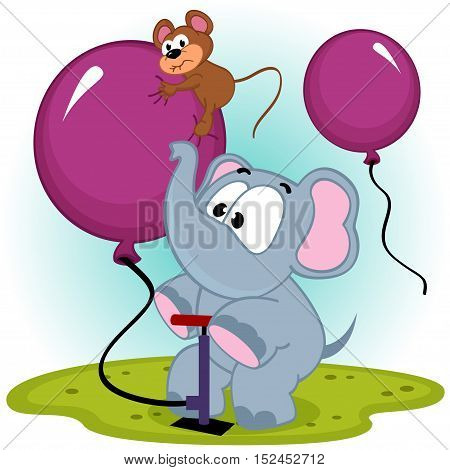 elephant inflating balloon with mouse - vector illustration, eps