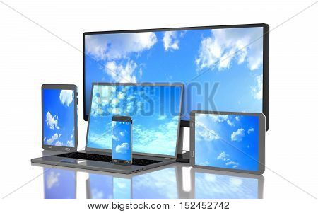 Set of clouds on the screen of computer gadgets on white background. 3D render