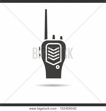 Radio transceiver icon. Drop shadow silhouette symbol. Negative space. Vector isolated illustration