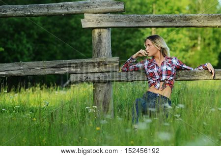 Portrait of a beautiful girl on the nature