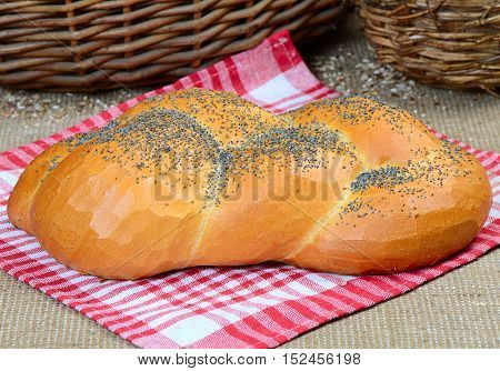 bread, wheaten long loaf with poppy