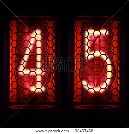 The  Nixie tube indicator of the numbers of retro style. Digit 4, 5