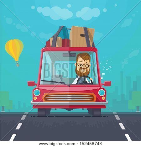 Trendy flat design vehicle sedan car rides on a car journey sing cheerful driver vector illustrations