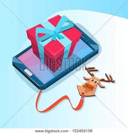 Cell Smart Phone With Present Box Big Holiday Sale Online Shopping Flat Vector Illustration