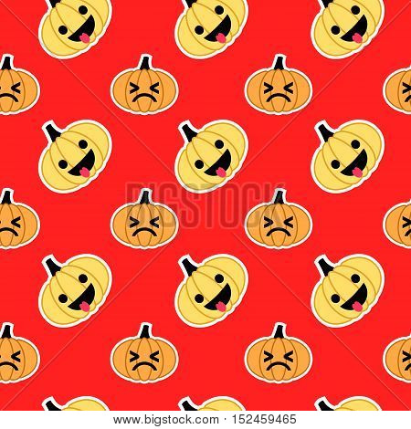 Vector slanted seamless pattern for Halloween with emoji pumpkins at red background