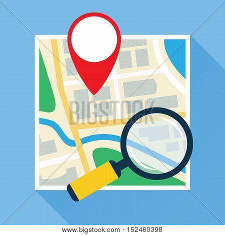 Magnifier over navigational map flat icon. Magnifying glass with handle zooming fragment of a paper map with gps symbol. Colored vector eps10 illustration.