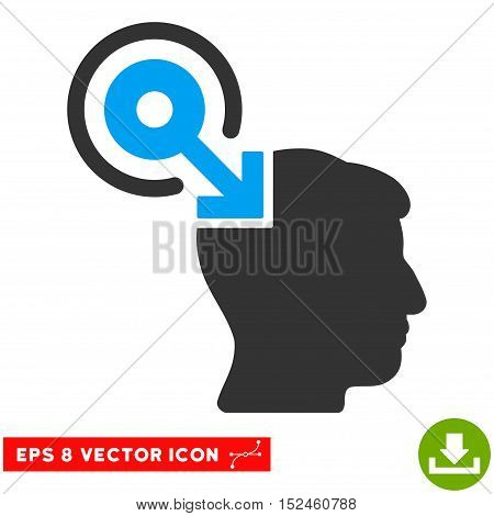Brain Interface Plug-In EPS vector pictogram. Illustration style is flat iconic bicolor blue and gray symbol on white background.